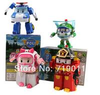 Free shipping Robocar poli deformation Car Robots South Korea Thomas Classic Action Figure Toys 4 pcs/lot for Children