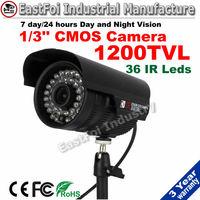 "1200tvl Surveillance Sercrity Camera 1/3"" Sony Sensor with ir-cut 36pcs IR leds day and night vision waterproof camera"