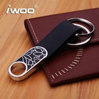 Free shipping Elegant m003 enamel black business man waist key chain Cowhide leather gift Christmas