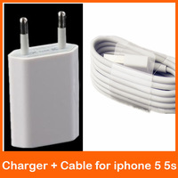 IOS8 10pcs 8 pin to USB Data Cable + 10pcs EU/USA Plug Wall Charger adapter for iPhone 5 5s 5c for iphone 6 High quality