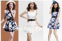 Nightclub sexy print dress organza sleeveless vest one-piece dress  Buy clothes to send belt Free Shipping
