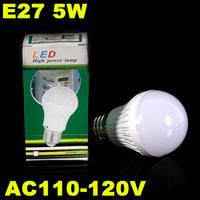 5pcs/lot E27 5W  AC110-120V 300-500Lumen SMD2835 18pcs Epistar Chips Led Bulb Free Shipping