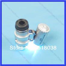 frete grátis 45x mini bolso lupa microscópio prata 2 diodo emissor de luz(China (Mainland))