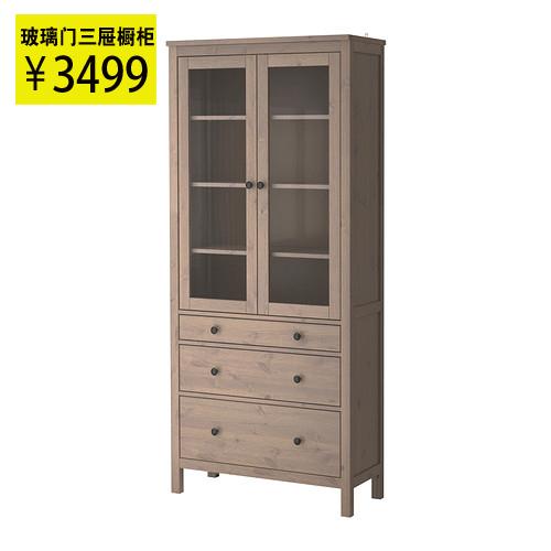 ikea han home glass door nice kitchen cabinet solid wood bookcase 90