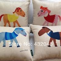 cartoon horse 45cm linen pillow cover  fabric cushion cover cartoon