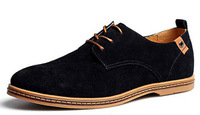 New 2014spring Mens business Casual Flats Shoes Suede Leather Lined Lace Up Size 38-44 Wholesale Free Shipping
