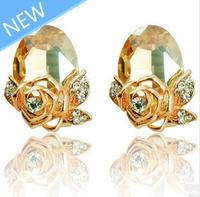 Free shipping 2014 New earring rhinestone Austrian crystals super beautiful roses stud earrings bridal wedding earrings