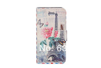 For Samsung Galaxy note3 N9000 Premium leather case with Eiffel Tower flowers print cartoon flip PU leather case with card slots
