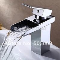 Best Waterfall Bathroom Basin Sink Deck Mounted Single Hole Chrome Ceramic Single Hole Faucet Tap MF-958