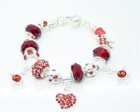 wholesale Free Shipping DIY silver glass bead Charm bracelets for women European Style Handmade Fashion Silver jewelry PB166