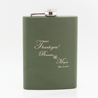 Personalized Stainless Steel Dark green 8-oz Flask Thank You  Men Carry Flagon Wedding Gifts
