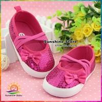 hot pink Girls Baby shoes girls sequins/bowknot elastic calcado infantil Princess Kids First Walker antiskid #2X0018 3 pair/lot