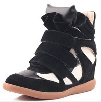 2014 New Isabel Marant Sneakers for Women Summer Wedges Height Increasing Leather Shoes Boots