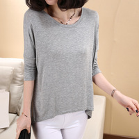 Large Loose t-shirt female batwing sleeve three quarter sleeve o-neck modal basic shirt high elastic and comfort  Free shipping