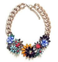 Vintage Flower Statement Bib Chunky Collar Party Jewelry Pendant Chain Necklace Europe Romantic  Necklaces for women