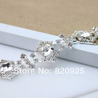1 Yard Stunning Crystal Clear Glass Rhinestone Silver Fashion Chain Sewing Trim 0.8'' Width Silver Tone