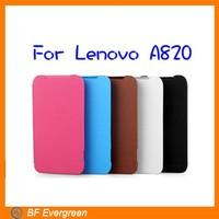 2014 Hot Phone case Pure color  Flip  Fold  PU  Leather Case 50 pieces/lot  for Lenovo  A820 #MC061