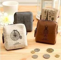 simple color claissic canvas unisex  Lady Girl Coin Bag Purse Mini Wallet Card Case Classic Handbag Gift key wallet  wholesale