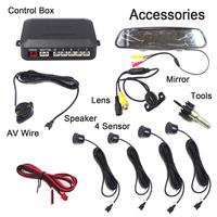 "Free Shipping Car Detector SZ604 4 Sensors Reverse Radar 4.3"" inch Rearview Mirror Parktronic Auto Parking Sensor"