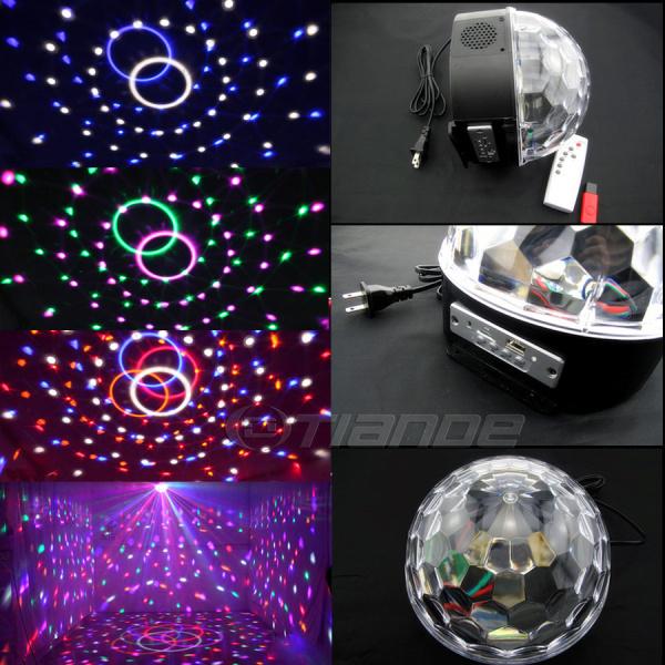 Boule de cristal magique led rgb mp3 musique scène, éclairage de la lampe avec disque usb télécommande 90-250v bluetooth pour l'iphone pour sansung