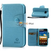 Blue MLT Leather Wallet TPU Inner Cover & Stand Case For Samsung  Galaxy SII S2 I9100 I9105 I9108 Free Shipping