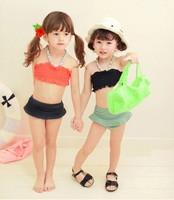 Retail 2014 new children's swimwear girls split up the chest band cap bikini swimsuit children embrace the swimming suit