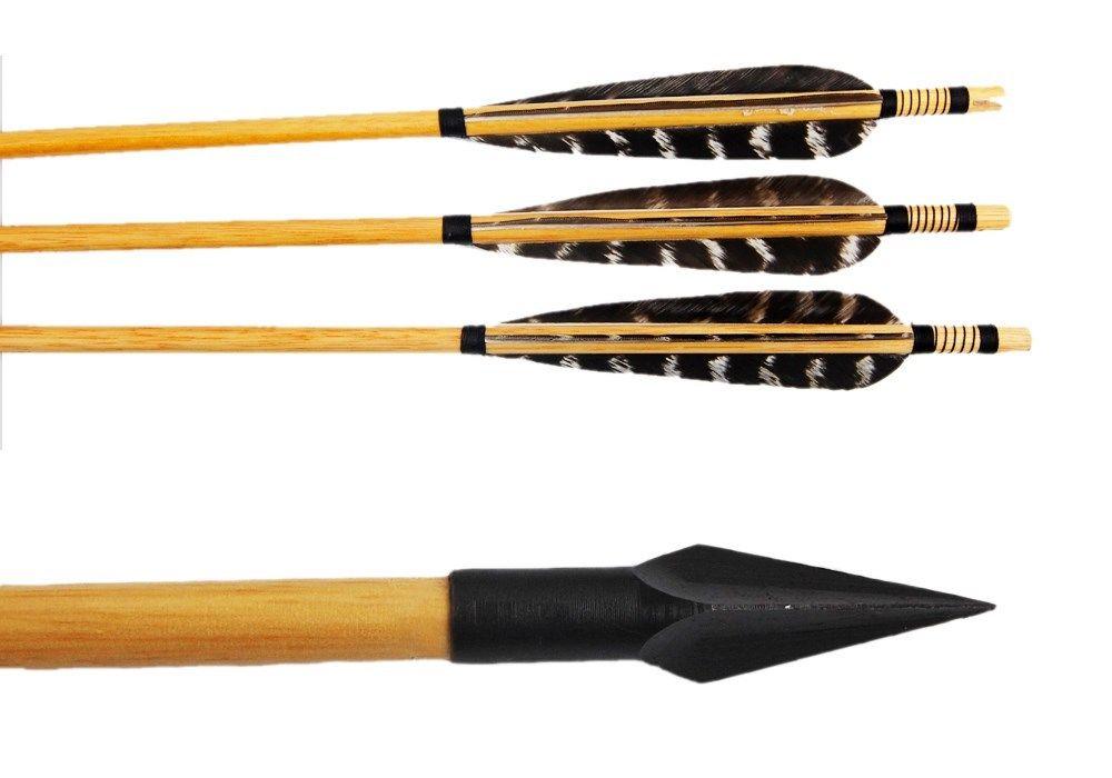 12x archery hunting 30 50lbs recurve bow wooden arrow w turkey feather