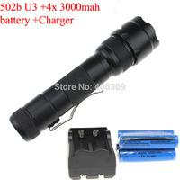 502b U3 Torch UltraFire WF-502B Cree XM-L U3 1400 Lumen 5 Modes LED Flashlight + 2 X 18650 Battery +1 x Charger