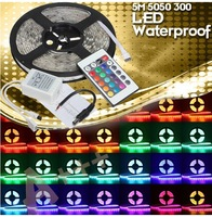Free Shipping 1 Piece 5M/roll RGB 300 LED SMD 5050 Waterproof 60Led/m Flexible LED Strip Light with 24 Key IR Remote Controller