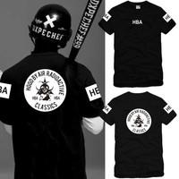 Men's Hood by air hba street  fashion trend of the T-shirt short-sleeve tee Men o-neck cotton t-shirt 6 color S-XXXL