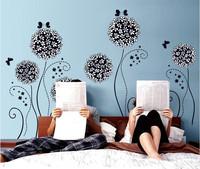 62*110cm  Wall Decal DIY Decoration Fashion Romantic Black Flower Wall Sticker Home Sticker PVC Bedroom Living Hot Selling