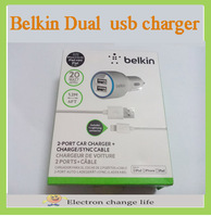 300pcs/lot  Belkin F8J071 bt Dual USB Car charger with 8 pin cable match iOS 7.02~7.1 Car charger for iphone 5 ipad mini