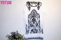 New 2014 belt section fashion summer tops plus size retro pattern print chiffon blouse free shipping (2 colors)