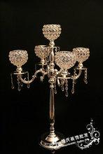 Wedding arrangements / exquisite candlestick / home decor / silver candlesticks five luxury crystal pendant(China (Mainland))