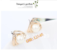 2014 Fashion Korean Jewelry retro pearl and small rhinestones earrings  fashion earrings for women