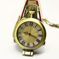 Free Shipping Wholesale Dropship 2013 Hot Sale Bronze Vintage Big Round Face Roma Fashion Quartz Mocket Magnifying Glass Watch