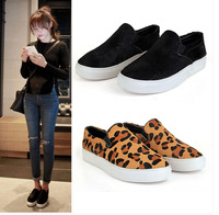 2014 Spring latest loafers women shoes sneakers leopard print and fur leather flats