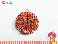 Newest! 35mm 10pcs/lot Basketball Rhinestone Pendants