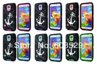 Anchor head 3 in 1 Combo Rubber Cover PC+Silicon Case For Samsung Galaxy S5 G900 i9600,MOQ 1pcs Free Shipping