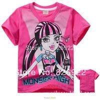 81101 Children's fashion monster high baby & kids Summer Cartoon Boys / Girls T-shirts Short-sleeved T-shirt children T-shirt
