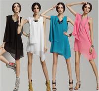 2014 New women plus size Irregular chiffon dress,candy color sexy dress for women,brief dress