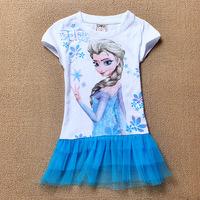 Wholesale New 2014 Kids Dress Summer Kids clothes Baby Girls Dress Frozen Elsa Dress Cotton Princess Girl Frozen Dress