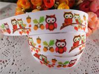 "2014 new arrival 7/8"" (22mm) owl printed grosgrain ribbon cartoon ribbons cloth tape 10 yards WQ2014040431"