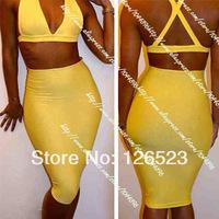 2014 New fashion women high waist two piece bandage dress, hot bodycon backless dress, sexy party dress clubwear yellow black