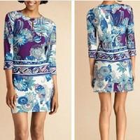 New 2014 Italian Luxury Brands Women's Slash Collar Abstract Print 3/4 Sleeve Plus Size XXL Stretch Jersey Silk Dress