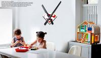 Novelty Modern design digital kids wall clock home decor cartoon superman adhesive 3D DIY Wall Sticker hour