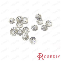 Free Shipping Wholesale 6mm Imitation Rhodium Flower Iron Bead Caps Diy Jewelry Findings Accessories 300 pieces(J-M4715)
