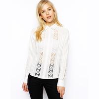 2014 new fashion Posterization cutout lace patchwork chiffon slim long-sleeve shirt female haoduoyi
