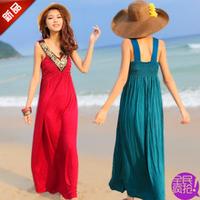New 2014 Dress Elegant Bohemia Beach Dress Solid Color Chiffon Summer Dress O-Neck Tank Sleeveless Floor-Length Women Dress