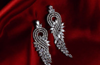 Super long crystal earrings cubic zircon AAA sterling sliver 18k gold plated drop earring women jewelry
